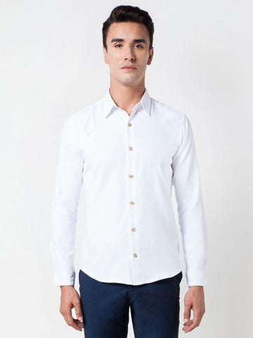 Plain Poplin White Formal Shirt