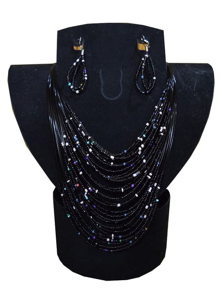 Black Necklace and Earrings Set - PurpleTulsi.com