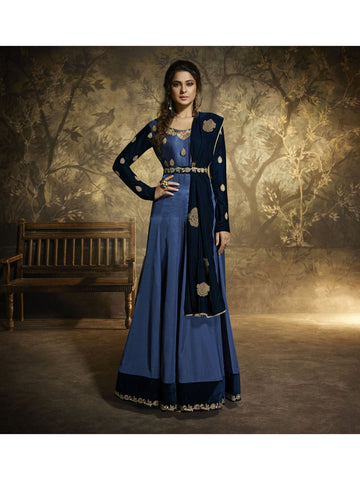 Gorgeous Blue Color Embroidered Anarkali Suit