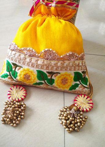 Embellished Ethnic Yellow Color Potli Bag