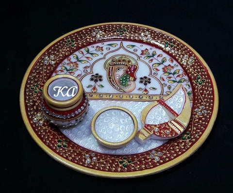 Marble Hand Worked Puja Thali
