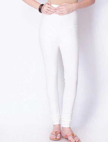White Cotton Elastic Leggings