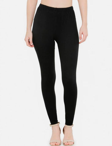 Black Cotton Elastic Leggings -Combo