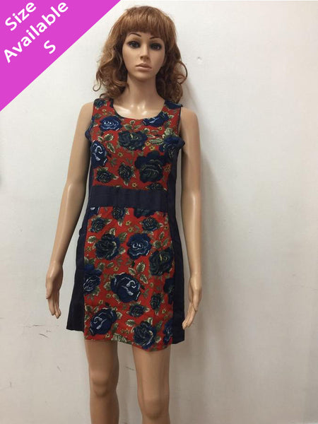 Blue Floral Printed Short Dress