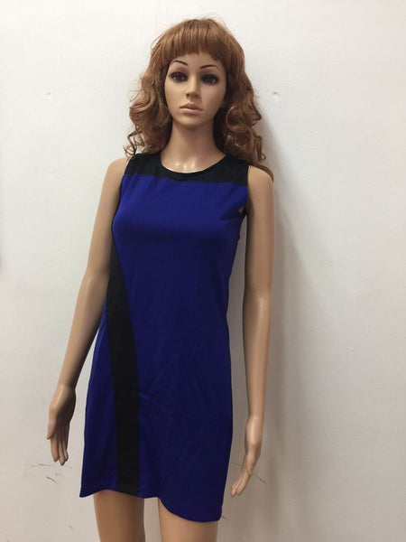 Dark Blue Plain Straight cut Dress