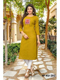 Designer Yellow Color Embroidered Slub Cotton Straight Cut Kurti