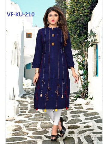 Designer Blue Color Rayon Printed Straight Cut Kurti