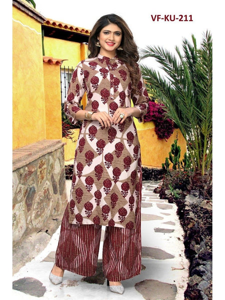 Designer Multi Color Rayon Printed Straight Cut Kurti with Bottom