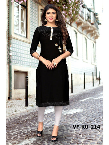 Designer Black Color Slub Cotton Hand Work Straight Cut Kurti
