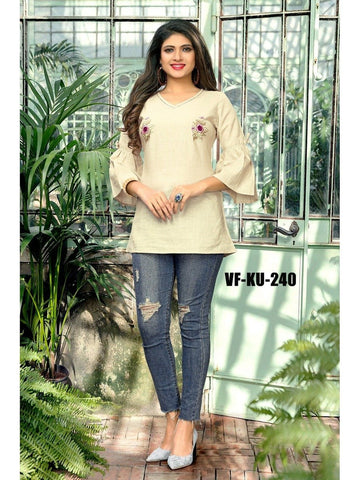 Designer White Color Embroidered Cotton Short Kurti