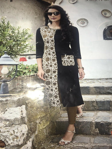 Beautiful Designer Black Color Rayon Long Straight Cut Kurti
