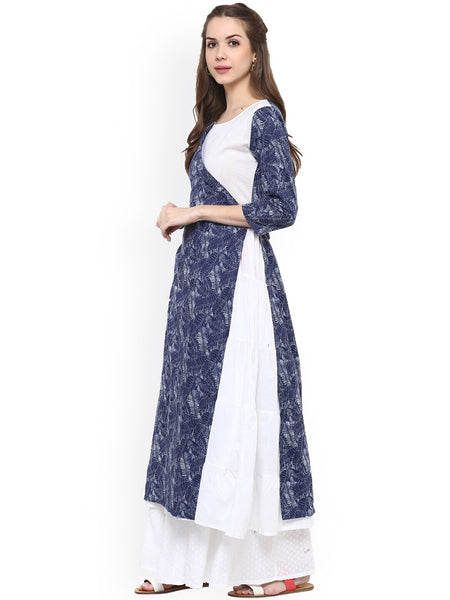 Blue & White Printed Layered Cotton Anarkali Kurti