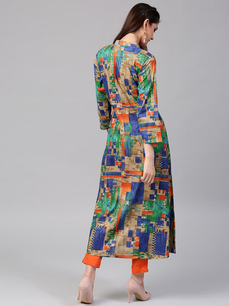Multicolored Cotton Printed Anarkali Kurti