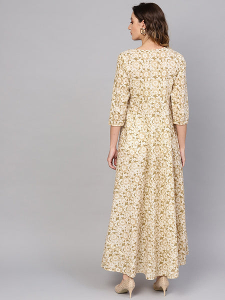 Off-white and Beige Printed Woven Cotton Dress