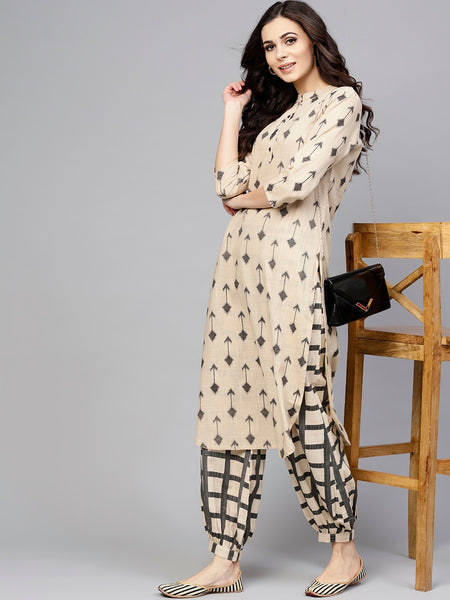 Beige & Grey Printed Cotton Kurti with Salwar