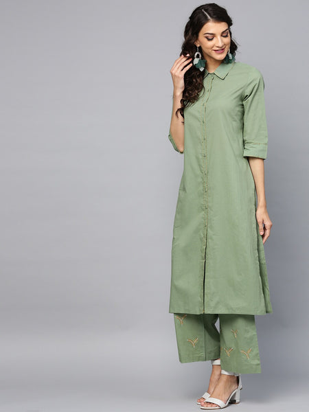 Green Embroidered  Pure Cotton Straight Cut Suit