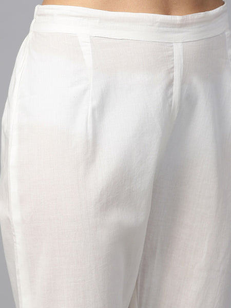 White Solid Pure Cotton Straight Cut Suit