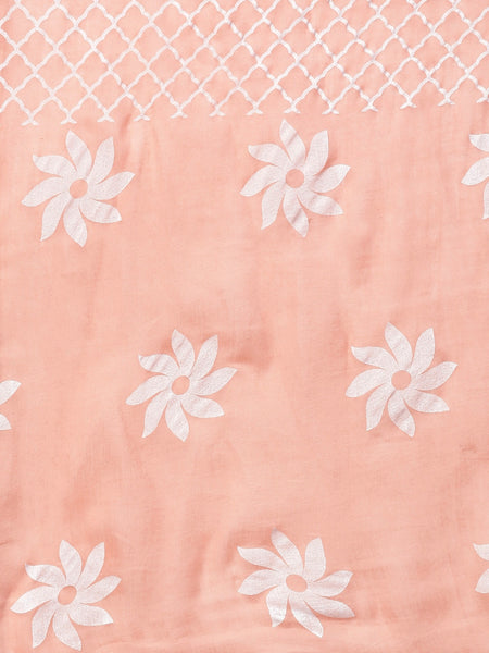 Peach Khari Printed Pure Cotton Straight Cut Suit