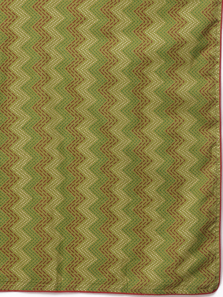 Green Gold Printed Pure Cotton Straight Cut Suit