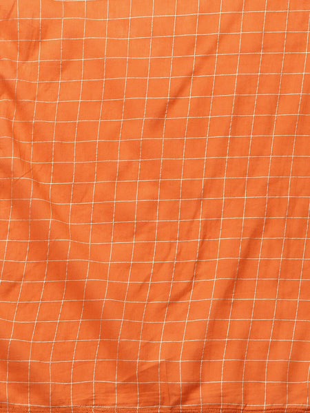 Orange and White Block Printed Straight Cut Suit