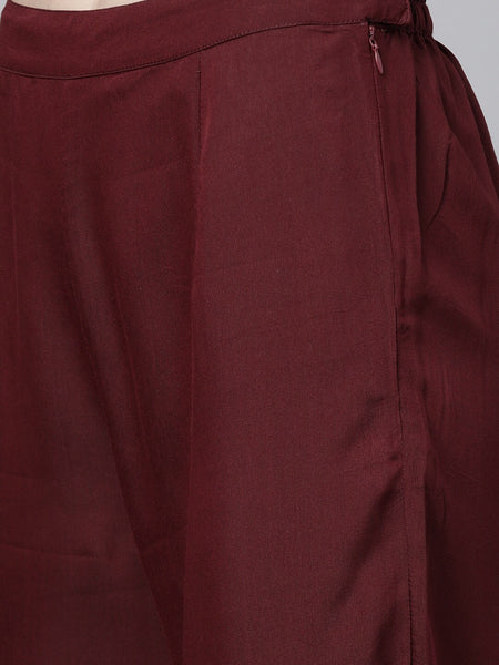 Maroon Polyester Solid Straight Cut Suit