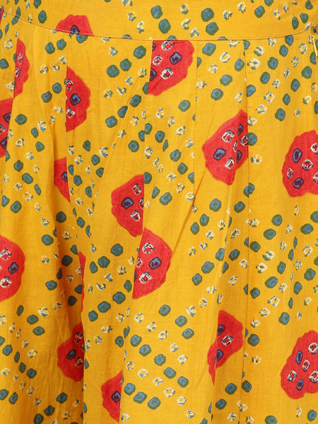 Mustard Pure Cottton Bandhani Printed Top and Palazzo Set
