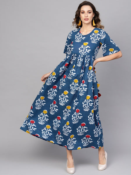 Blue and white Printed Woven Cotton Dress