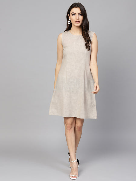 Grey Solid Woven Cotton Sheath Dress