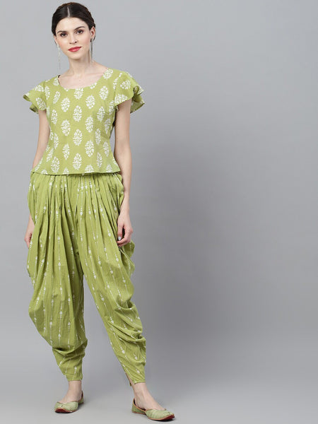 Green & White Printed Top With Dhoti Pant