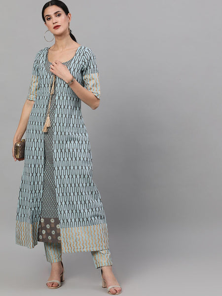 Grey and Blue Printed Pure Cotton Kurti with Palazzo