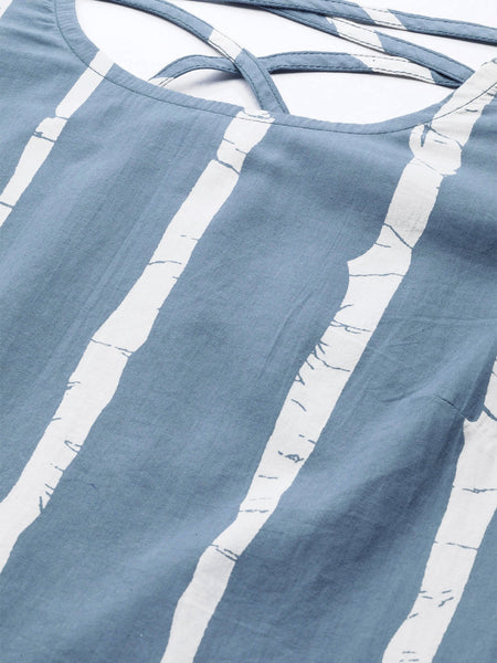 Blue & White Striped Ruffled Pure Cotton Top