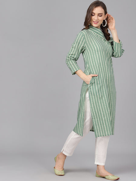 Green and Off-white Striped Cotton Straight Cut Kurti