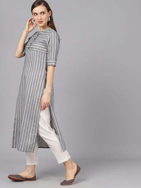 Grey and White Printed Cotton Straight Cut Kurti