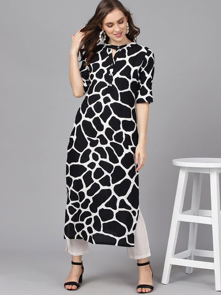 Black and White Viscose Rayon Printed Straight Cut Kurti