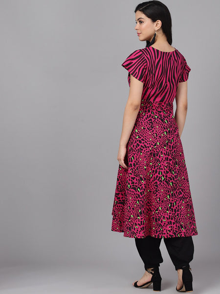 Magenta & Brown Cotton Printed Anarkali Kurti