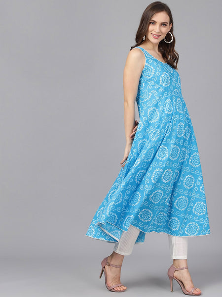 Turquoise Blue Cotton Printed Anarkali Kurti