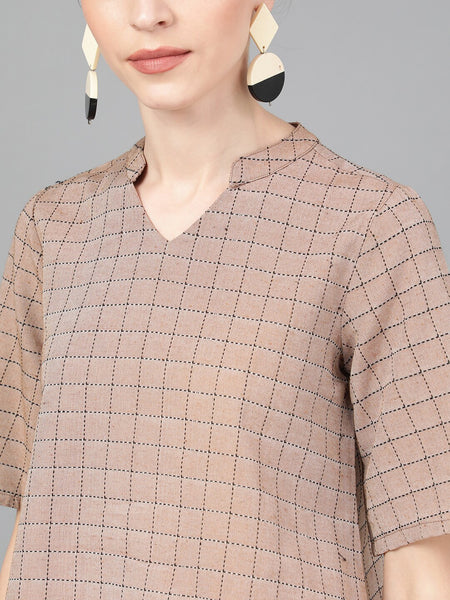 Brown & Black Checked Pure Cotton Top