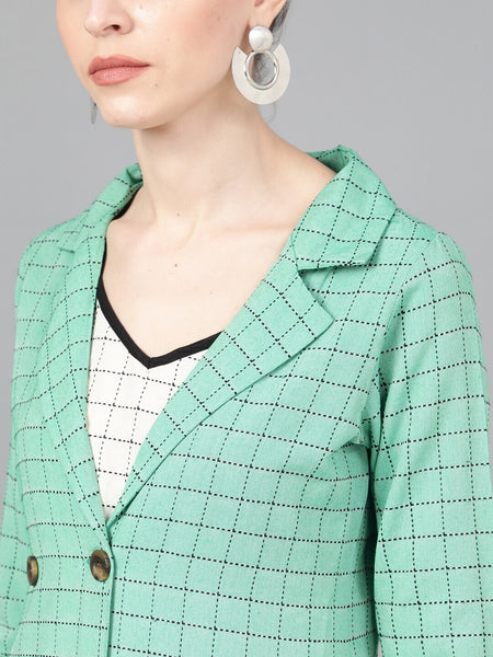 Green Self Design Open Front Jacket