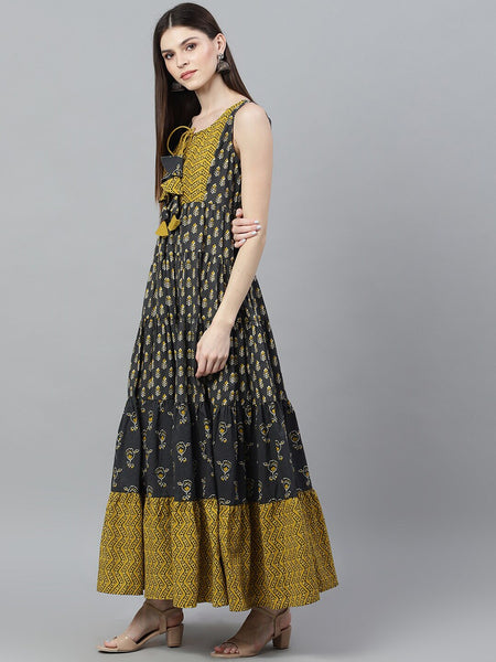 Grey and Mustard Printed Cotton Dress