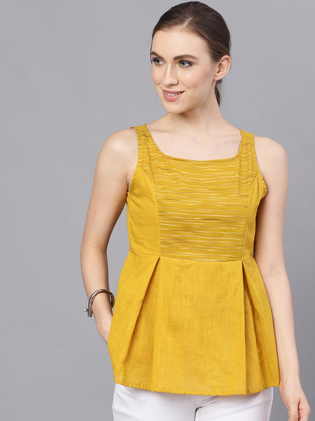 Mustard Yellow Solid Pure Cotton Peplum Top