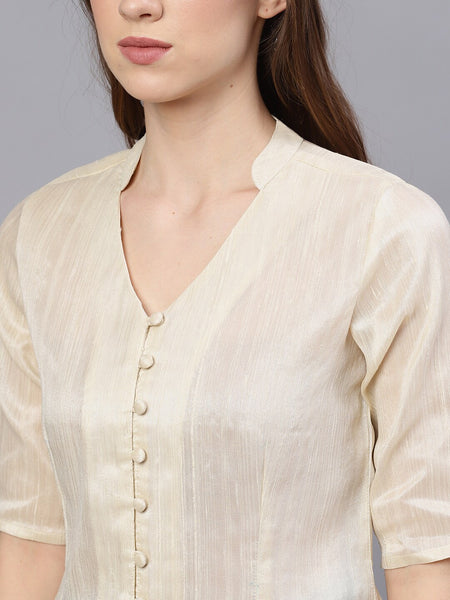 Cream Colour Solid Shirt Style Silk Blend Top