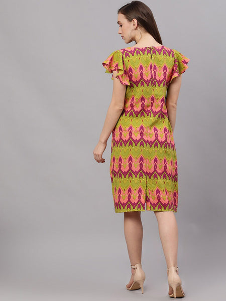 Green and Pink Printed Viscose Rayon A-Line Dress