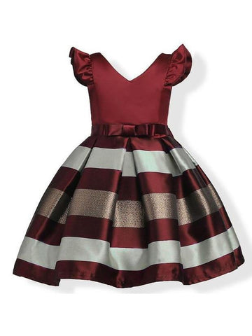 Lovely V Neck Stripe Pleated Dress For Girls