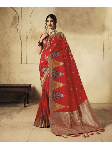 Designer and Beautiful Red Color Saree