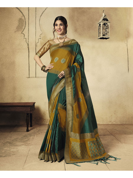 Designer and Beautiful Green & Orange Color Saree