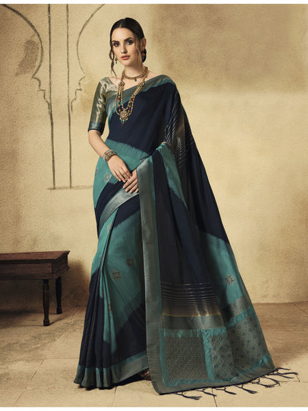 Designer and Beautiful Navy Blue+Green Color Saree