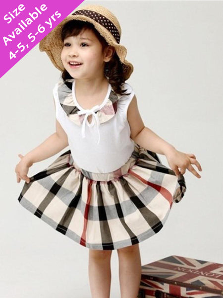 Beige and White Kids Dress (4-6Yrs)