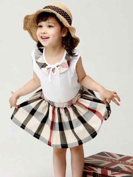 Beige and White Kids Dress (4-6Yrs) - PurpleTulsi.com  - 1