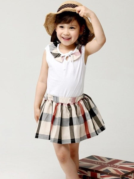 Beige and White Kids Dress (4-6Yrs) - PurpleTulsi.com