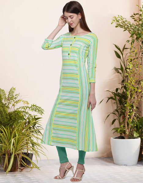 Multi Color Cotton Printed Anarkali Kurti